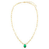 Emerald Green Teardrop Link Necklace - Adina's Jewels