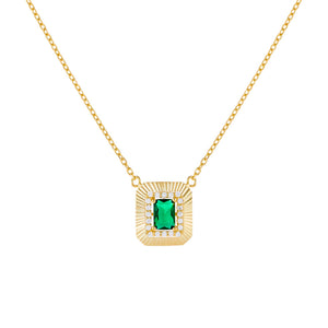 Emerald Green CZ Illusion Baguette Ridged Necklace - Adina's Jewels