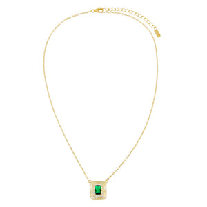 CZ Illusion Baguette Ridged Necklace - Adina's Jewels
