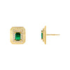Emerald Green CZ Illusion Baguette Ridged Stud Earring - Adina's Jewels