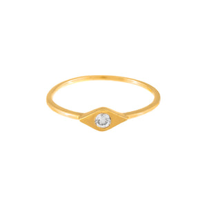 Diamond Bezel Evil Eye Ring 14K - Adina's Jewels