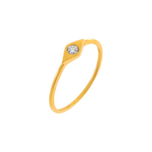 14K Gold / 6.5 Diamond Bezel Evil Eye Ring 14K - Adina's Jewels