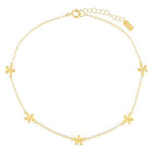 Gold Solid Multi Flower Anklet - Adina's Jewels