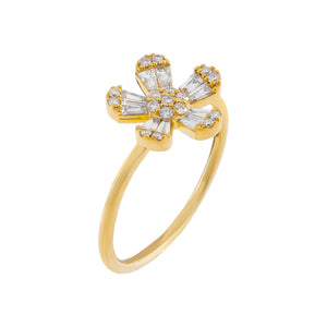 14K Gold / 7 Diamond Flower Baguette Ring 14K - Adina's Jewels