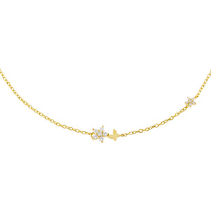 Gold Tiny CZ Butterfly X Flower Choker - Adina's Jewels