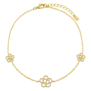 Gold CZ Triple Rose Anklet - Adina's Jewels