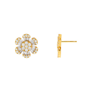 Gold CZ Baguette Flower Stud Earring - Adina's Jewels