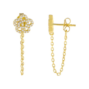 Gold CZ Rose Flower Chain Huggie Earring - Adina's Jewels