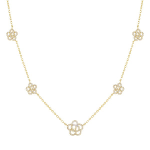 Gold CZ 5 Rose Flower Necklace - Adina's Jewels