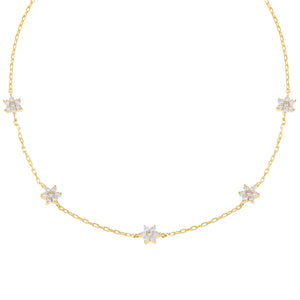 Gold CZ Multi Flower Link Choker - Adina's Jewels