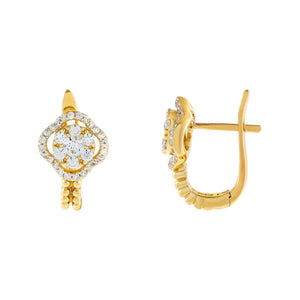 Gold CZ Flower X Beaded Hoop Earring - Adina's Jewels