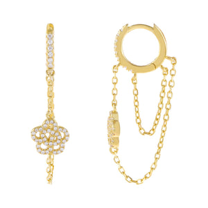 Gold CZ Rose Flower Double Chain Huggie Earring - Adina's Jewels