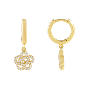 Gold CZ Rose Flower Huggie Earring - Adina's Jewels