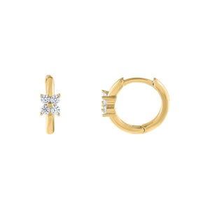 Gold CZ Mini Flower Cluster Huggie Earring - Adina's Jewels
