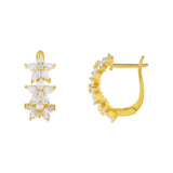 Gold CZ Crystal Triple Flower Huggie Earring - Adina's Jewels
