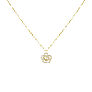 Gold CZ Rose Flower Necklace - Adina's Jewels