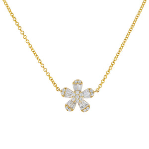 14K Gold Diamond Flower Baguette Necklace 14K - Adina's Jewels