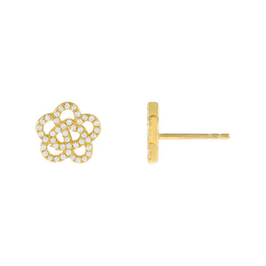Gold CZ Rose Flower Stud Earring - Adina's Jewels