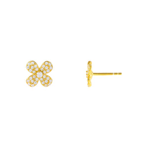 Gold Pavé Flower Stud Earring - Adina's Jewels