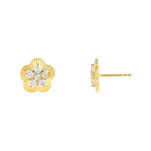 Gold CZ Illusion Flower Stud Earring - Adina's Jewels