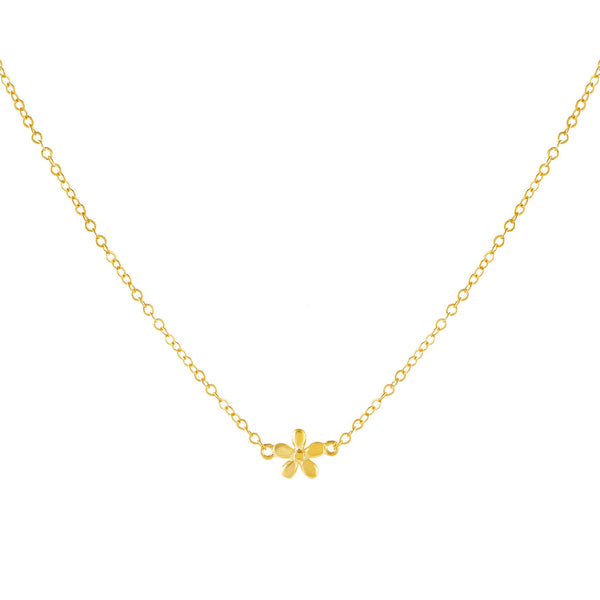 Gold Solid Flower Necklace - Adina's Jewels