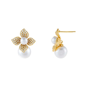 Gold CZ Pearl Flower Stud Earring - Adina's Jewels