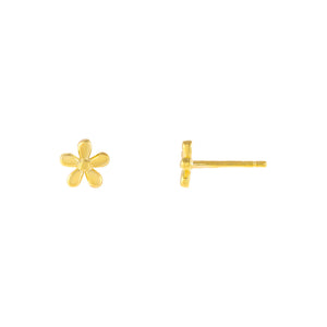 Gold Solid Flower Stud Earring - Adina's Jewels