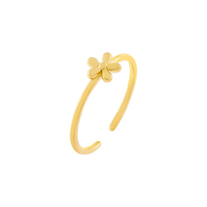Gold Solid Flower Adjustable Ring - Adina's Jewels