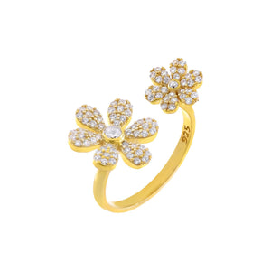 Gold CZ Double Flower Ring - Adina's Jewels