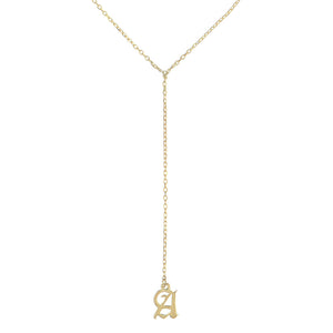 14K Gold Old English Initial Lariat 14K - Adina's Jewels
