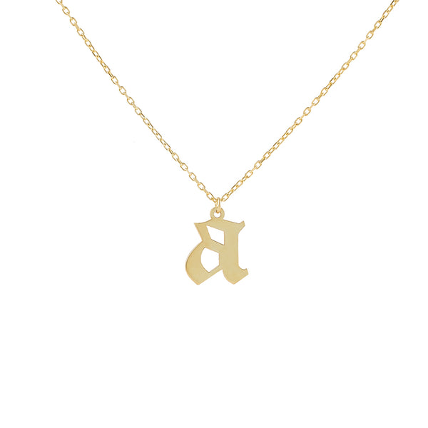 Gold / A Gothic Initial Necklace - Adina's Jewels