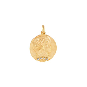 Gold CZ Vintage Coin Charm - Adina's Jewels