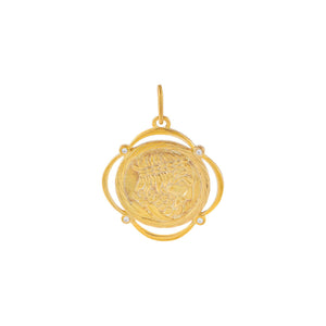 Gold CZ Greek Coin Charm - Adina's Jewels