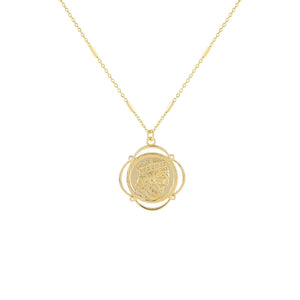 Gold CZ Greek Coin Necklace - Adina's Jewels