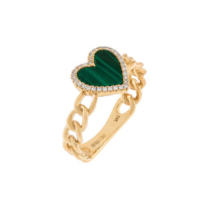 Emerald Green / 6 Diamond Emerald Heart Braided Ring 14K - Adina's Jewels