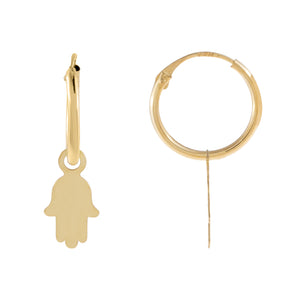 14K Gold Solid Hamsa Hoop Earring 14K - Adina's Jewels