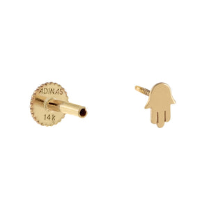 Solid Hamsa Threaded Stud Earring 14K - Adina's Jewels