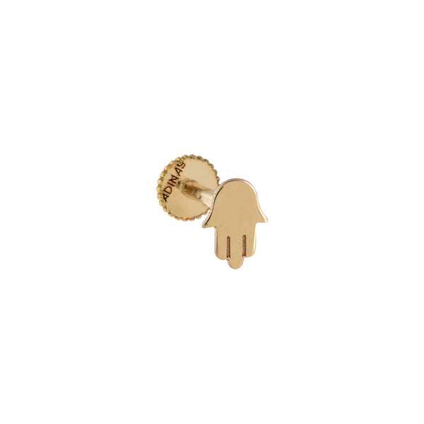 14K Gold / Single Solid Hamsa Threaded Stud Earring 14K - Adina's Jewels
