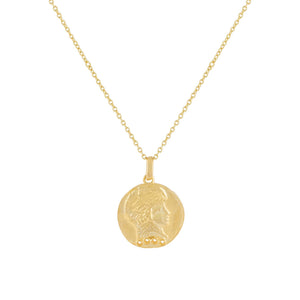 Gold CZ Vintage Coin Necklace - Adina's Jewels