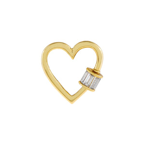 Gold Baguette Toggle Heart Necklace Charm - Adina's Jewels