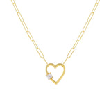 Gold Baguette Heart Toggle Oval Link Necklace - Adina's Jewels