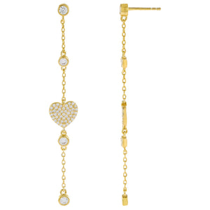 Gold CZ Heart Drop Stud Earring - Adina's Jewels