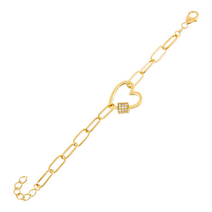 Gold Pavé Heart Toggle Link Bracelet - Adina's Jewels