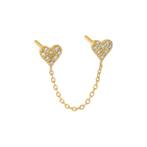 14K Gold / Single Diamond Pavé Mini Heart Chain Stud Earring 14K - Adina's Jewels