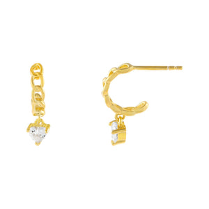 Gold CZ Heart Cuban Hoop Earring - Adina's Jewels