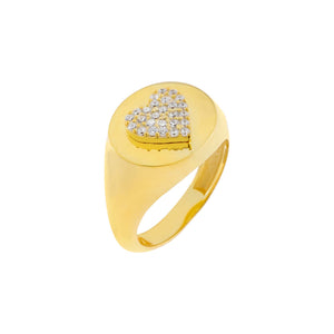 Gold / 5 Pavé Heart Pinky Ring - Adina's Jewels