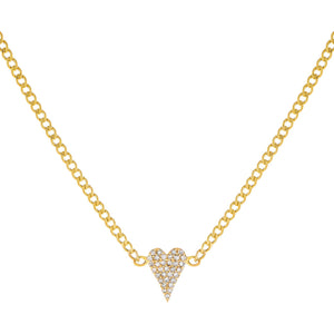 14K Gold Diamond Heart Cuban Necklace 14K - Adina's Jewels