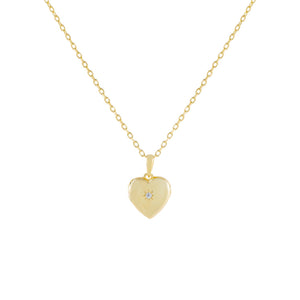 Gold CZ Heart Locket Necklace - Adina's Jewels