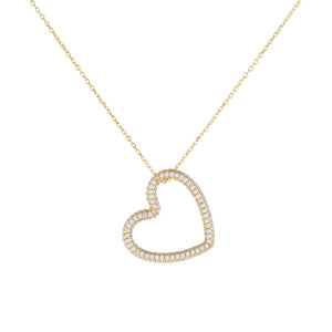 Gold Pavé Open Heart Charm Necklace - Adina's Jewels