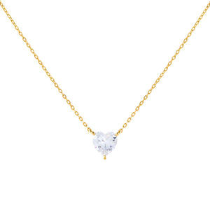 Gold CZ Heart Stone Necklace - Adina's Jewels